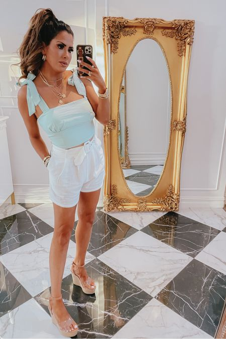 http://liketk.it/3hlgm #liketkit @liketoknow.it #LTKDay Emily Ann Gemma, LTK day, LTK sale, summer outfit, forever 21, shorts, tank, gold jewelry, wedges, forever 21: 25% off with code LTKxF21