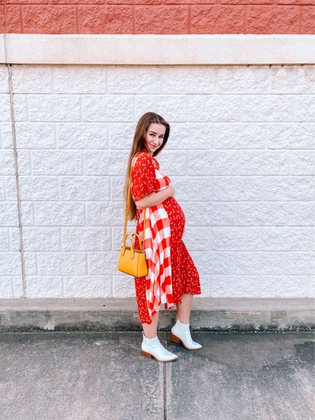 Red plaid dress is old from Roolee, I linked some similar! Yellow target crossbody purse White target Chelsea booties, fit true to size!   #LTKshoecrush #LTKSeasonal #LTKbump