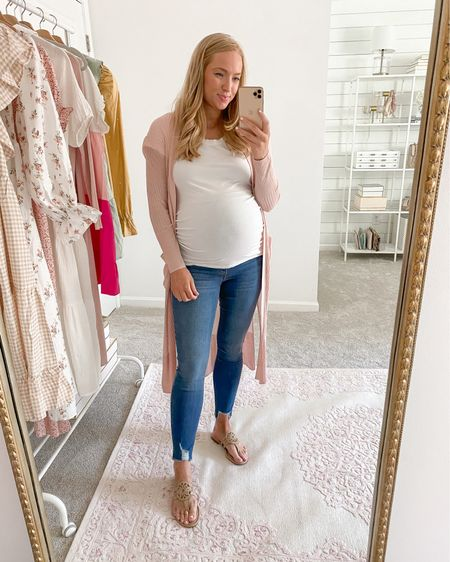 Maternity outfit from Walmart! They made one of my favorite pairs of Walmart jeans in a maternity option so I had to try them. Also linked the regular skinny jeans, which have been a bestseller on Strawberry Chic since 2019! I wear my normal size 4 and they're stretchy, if between I would size down.    http://liketk.it/3i0im #liketkit @liketoknow.it #LTKbump #LTKunder50