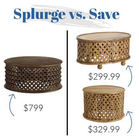 Splurge vs save on this wood coffee table!     #LTKhome #LTKunder100 #LTKsalealert