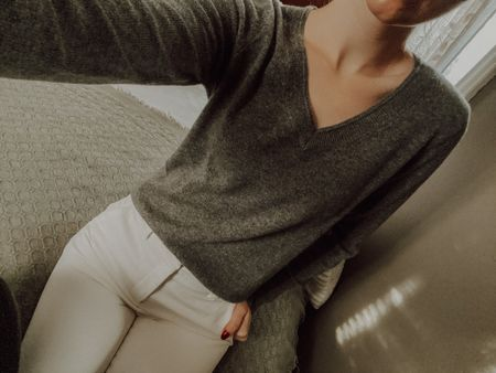 Easy, casual outfit of the day for working at home. Who said cashmere loungewear was meant only to relax?!  Plus, both the trousers and the cashmere knit are on sale for under $50! Each come in multiple colours, all linked below!  #LTKworkwear #LTKsalealert #StayHomeWithLTK