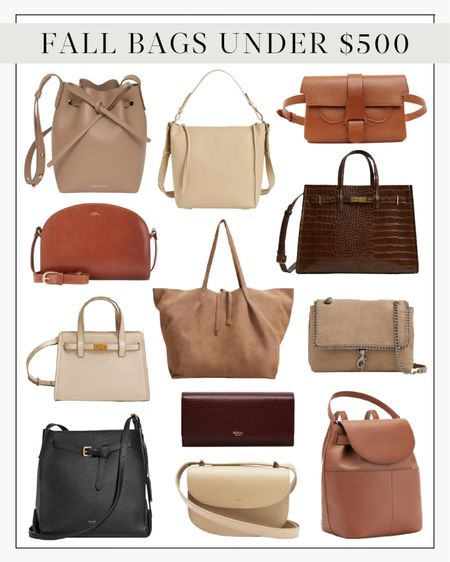 Fall Bag, Fall Purse, Fall Handbags  #beltbag #fallpurses #fallbags #fallhandbag #backpackpurse #nudebag #neutralbag #leatherbag #luxuryalternativebags #tanbag  Fall bags under $500. Searched high and low for these high-quality seasonal beauties! There's something for everyone, whether work, weekend, everyday, or date night.
