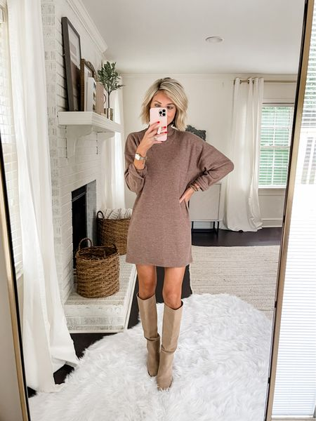 Loverly Grey has paired this gorgeous Abercrombie sweater dress with a knee high boot.   #LTKstyletip #LTKworkwear
