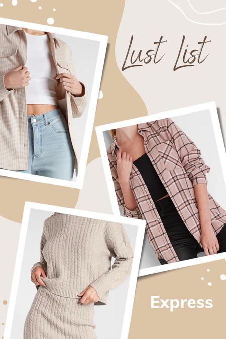 Express, shacket, shirt jacket, matching set, knit set, skirt set, sweater set, fall outfits   #LTKunder100 #LTKstyletip