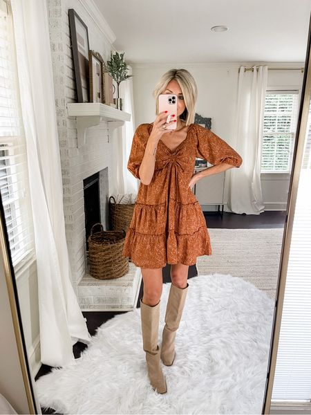 Loving this orange dress for a casual fall look. Pair with knee high boots for a work wear or date night.  Code: loverly20 for 20% off your order!    #LTKunder100 #LTKstyletip #LTKworkwear
