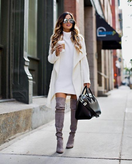 Fall outfits Free People tunic sweater Stuart Weitzman gray over the knee boots Drapey fall coat   #LTKstyletip #LTKshoecrush #LTKSeasonal