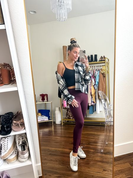 Casual Everyday Athleisure Look Flannel- 40% off JANELLE40 Fuzzy Sneakers- 40% off: JANELLE40 Amazon Crop Top Lulu Align Leggings   #LTKstyletip #LTKunder100 #LTKunder50