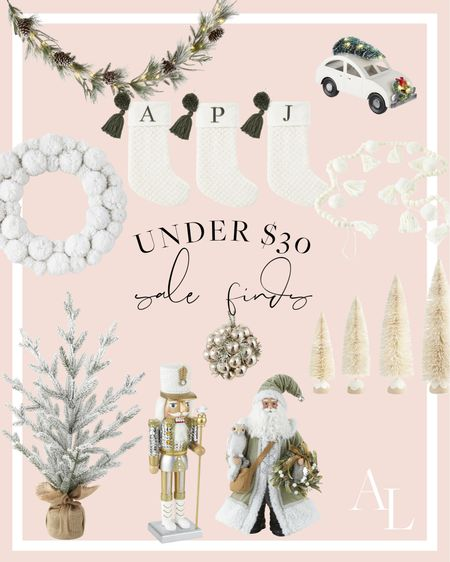 Neutral and sparkly Christmas decor on sale for under $30! ❄️🌲✨