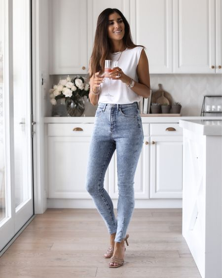 White shirt -and jeans, summer outfit, summer staples, StylinbyAylin  Follow my shop on the @shop.LTK app to shop this post and get my exclusive app-only content!  #liketkit  @shop.ltk http://liketk.it/3kkUI  #LTKsalealert #LTKunder100 #LTKunder50