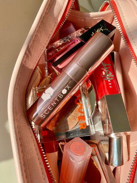 Glossier makeup bag with my new fav perfume Chloé Nomade   #LTKbeauty #LTKunder50 #LTKunder100