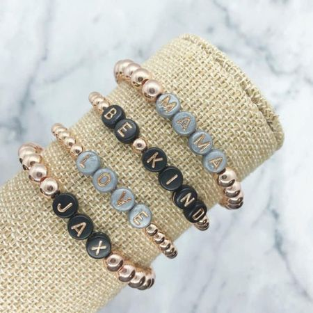 JUST ORDERED! Rose gold personalized bracelets! Adding some to my stack! $13 shipped! ❤️❤️  Thank you Styling the Momiform for the heads up!   Xo, Brooke  #LTKsalealert #LTKstyletip