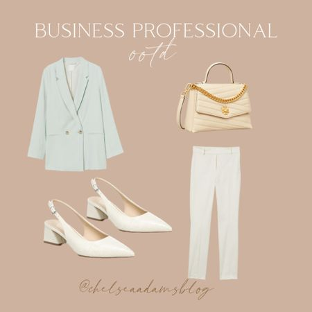 Bsuienss professional Business casual Work outfit Office outfit seafoam green Mint green blazer White slingback heels White work pants Tory burch interview outfit Labor day sale Express H&m  #LTKunder50 #LTKworkwear #LTKunder100