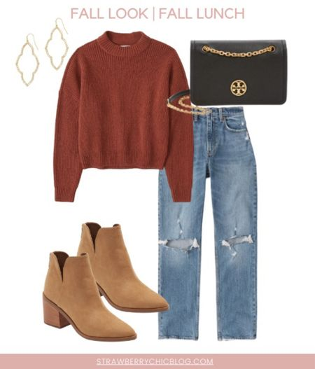 This outfit is perfect for a fall lunch date! Jeans, sweater, booties paired with a black bag!   #LTKSeasonal #LTKstyletip
