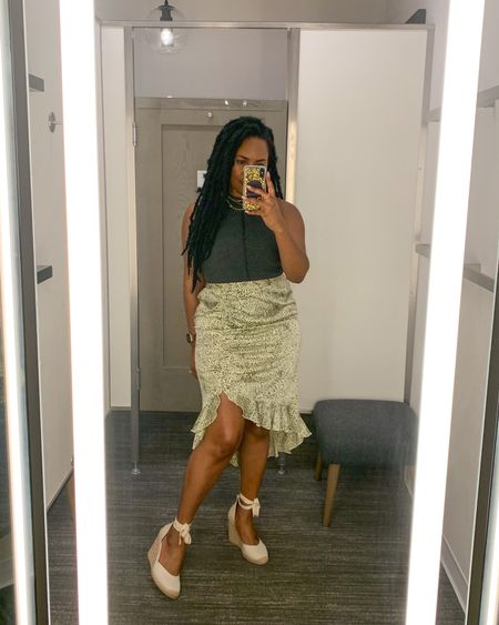 This ruched midi skirt is fun and flirty for summer! Also ruching gives you flattering shape. Perfect for midsize & curvier bodies!  Just pair this skirt with a bodysuit and wedges for the perfect summer outfit.   #LTKstyletip #LTKcurves #LTKunder50