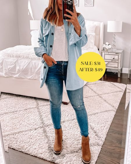 Obsessed with this $30 shacket from Nordstrom sale. Wearing a size small. These are my fave boots from the sale paired here!   #LTKsalealert #LTKstyletip #LTKshoecrush