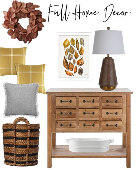 Fall home decor touches for those who don't like to over fo it. Wood, cabinets are so versatile.  leaf art, wood lamp, throw pillows, eucalyptus wreath, basket   #LTKhome #LTKSeasonal #LTKsalealert