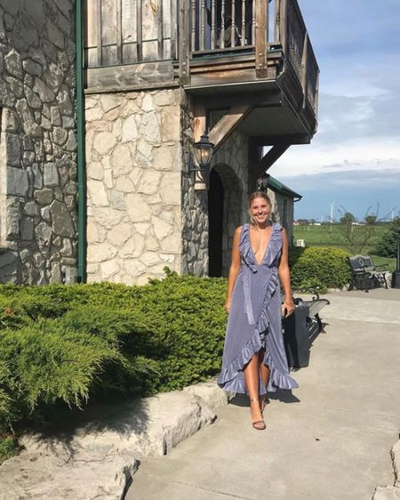 This gorgeous velvet wrap dress fits true to size wearing an XS.  @mslibbeyjean #theblondetraveler http://liketk.it/2T3yE #liketkit @liketoknow.it #LTKwedding #dress #velvet #wrapdress