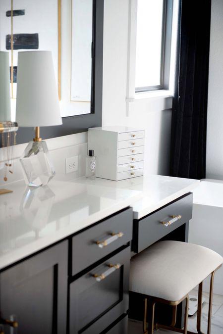 I love this necklace organizer for my bathroom because it's functional.  Bathroom organization, bathroom decor, custom bathroom, black bathroom, white bathroom, Amazon home, Amazon Finds, jewelry box organization, acrylic, Lucite, acrylic hardware, brass hardware, cabinet hardware, black curtains, bedroom curtains, black velvet, vanity stool, vanity chair, glam, luxury bathroom, fall decor, modern bathroom   #LTKbeauty #LTKhome #LTKstyletip