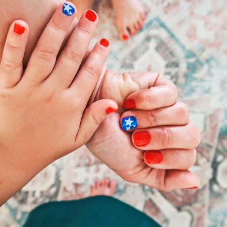 @target for the win with our 4th of July Nails 🇺🇸 ❤️🤍💙   Shop my daily looks by following me on the @liketoknow.it  shopping app http://liketk.it/3iK5p    #liketkit #LTKkids #LTKbeauty #ltk4thofjuly #ltksummer #oliveandjune #target #nailspolish #targetbeauty