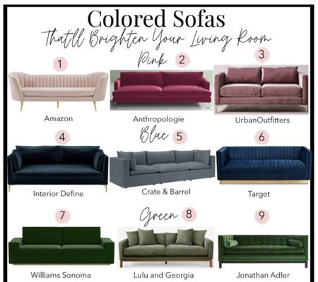 Colored sofa ideas to update your living room and mood.   Color couch, velvet sofa, living room inspiration, velvet couch, color sofa, pink sofa, blue couch, green sofa, home decor, living room decor.   Follow me on LIKEtoKNOW.it for modern furniture and home decor.    #LTKstyletip #LTKfamily #LTKhome