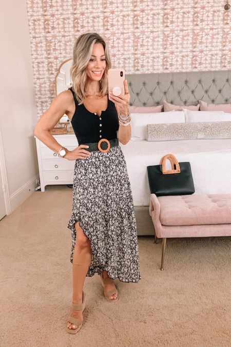 Henley Tank Top and side slit skirt with wedges.   Bodysuit Fit: I'm wearing an XS  Skirt Fit: I'm wearing a Small   http://liketk.it/3hDep #liketkit @liketoknow.it #LTKshoecrush #LTKstyletip #LTKunder50