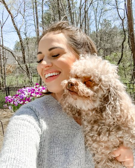 I took this photo this past weekend of me and my girl Abby. She was all over me so I stopped to give her all the lovings. I think she just wanted to have a good hug and sunbathe with her mama away from the boys 💕  We are loving this amazing weather and glad we got both porches set up to enjoy during the day and evenings while I'm on maternity leave 😍 • •  http://liketk.it/3c7Tl #liketkit @liketoknow.it #LTKhome #LTKSpringSale #LTKfamily