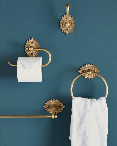 Powder bath Bathroom hardware Gold decor Towel ring Toilet paper holder Half bath Master bath Anthropology Anthro  Home accents  http://liketk.it/2YF3E #liketkit @liketoknow.it #StayHomeWithLTK #LTKhome #LTKunder50