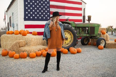 Looking at the End of the month? 🎃🍂🍁 Boy… did October fly bye… October Best sellers up on The Blog this afternoon ✔️🍁 . Today for #waytowearwednesday… A way to style a sweater dress✔️ . A sweater dress is a great fall piece to wear with your over the knee boots or tall boots! Pair with a denim jacket or even a Shacket for extra texture and layer. I love how easy a sweater dress is to wear. Comfy and chi✔️🍂 . You could even wear with #spanx faux leather leggings!  . Are you a Fall dress girl? Or Jeans and leggings girl?🍁🍂🍁🍂 . . Have a great Wednesday Pretty ladies! . .   #LTKunder50 #LTKstyletip #LTKworkwear