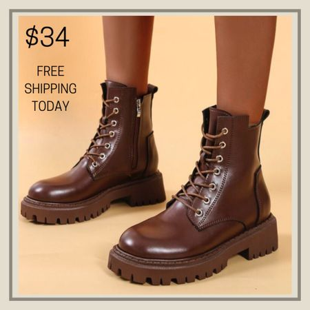 Lace up front combat boots  #LTKshoecrush #LTKunder50 #LTKunder100