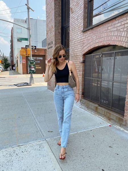 Abercrombie best selling 90's ultra high rise straight jeans under $100 (fit TTS) Dolce Vita kayden heels   #LTKunder100 #LTKSeasonal