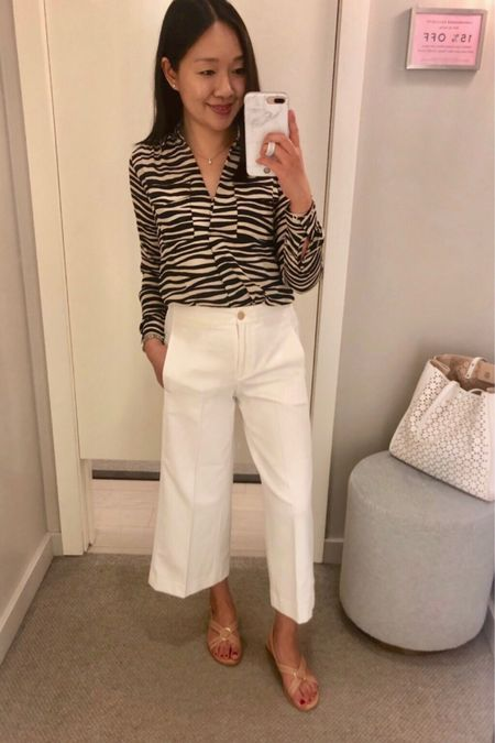 Are you a fan of the 🦓 zebra print trend this season? #SaleAlert: Get 40% off your purchase or 50% off for Cardmembers @anntaylor. Use code SOGOOD. I reviewed this blouse in the 8/10 post on www.whatjesswore.com. I opted for a size down (XXS petite). I am trying on the pants in my usual size 0P. @liketoknow.it http://liketk.it/2E93z #liketkit #LTKsalealert #LTKunder50 #LTKunder100 #LTKstyletip #LTKworkwear