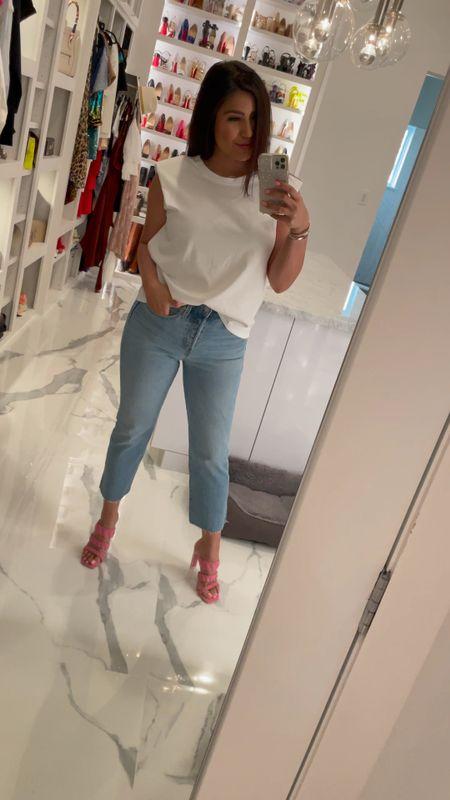 Saturday Vibes in née trend jeans and shoulder pad tee  #LTKSpringSale #LTKshoecrush #LTKSeasonal