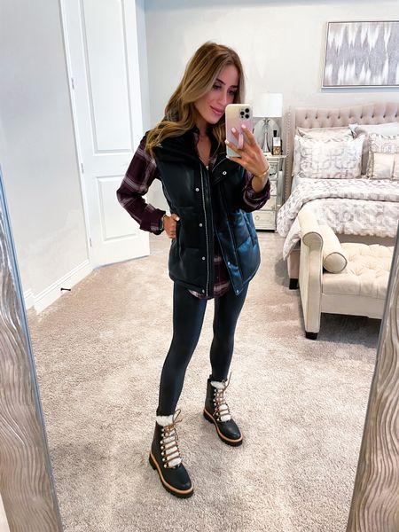 Black vest size xxs, plaid shirt size Xs, leggings size Xs   #LTKunder100 #LTKstyletip #LTKunder50