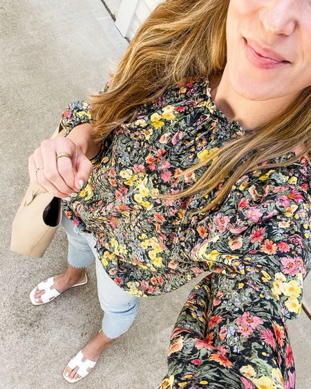 Blouse with jeans and sandals. Top is a splurge but denim and shoes are under $100! Everything fits true to size. ✨ 🌸   #LTKunder100 #LTKshoecrush #LTKSeasonal