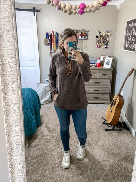 Don't mind the messy hair, but this pullover got in the mail is so good! Brown. Leopard trim. Pockets. Under $25. Mind your business if you see me wearing this every weekend. 😉  #LTKsalealert #LTKunder50