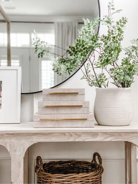 Amazon home, shagreen, boxes, console table, vase decor, green stems, coastal, large mirror, round mirror, whitewashed, furniture, bedroom, traditional design   #LTKstyletip #LTKhome #LTKunder100