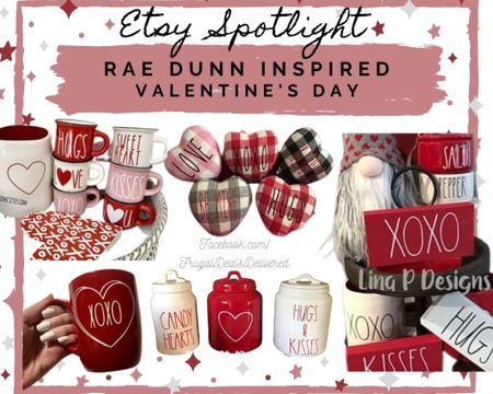 Rae Dunn inspired Valentine's Day home living room, kitchen, shelf, tiered tray decor! Coffee mugs, cookie jar, fabric hearts, rolling pin, gnomes. So much fun!!   Screenshot this pic to get shoppable product details with the LIKEtoKNOW.it shopping app http://liketk.it/37AVl #liketkit @liketoknow.it #LTKSeasonal #LTKhome #LTKVDay @liketoknow.it.home