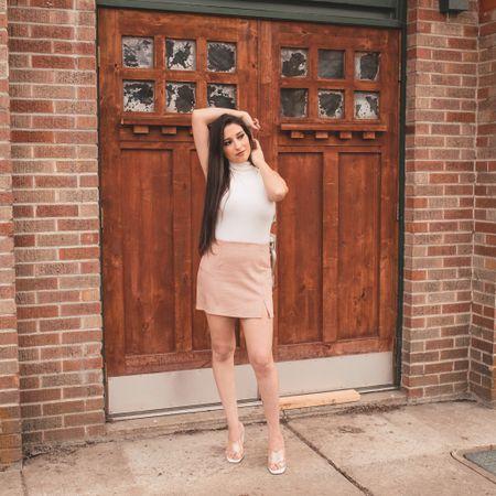 White turtleneck and pink suede skirt   #LTKunder50 #LTKSeasonal #LTKtravel
