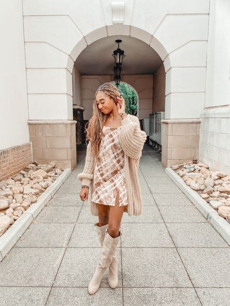Chunky cardigan with split cami dress such a perfect fall look!   #LTKunder50 #LTKstyletip #LTKHoliday