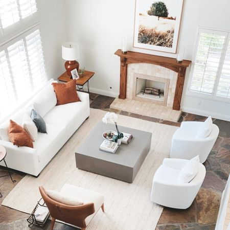 Neutral living room decor. California casual style: white on white living room. Furniture from Pottery Barn, One King's Lane and Anthropology.  #LTKhome #LTKfamily #LTKstyletip