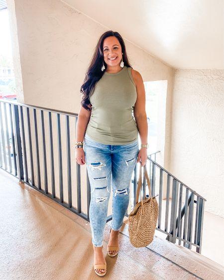 Date night outfit. Summer look. Tank top, tts. Distressed jeans, wearing size 12.. http://liketk.it/2QSiQ #liketkit @liketoknow.it