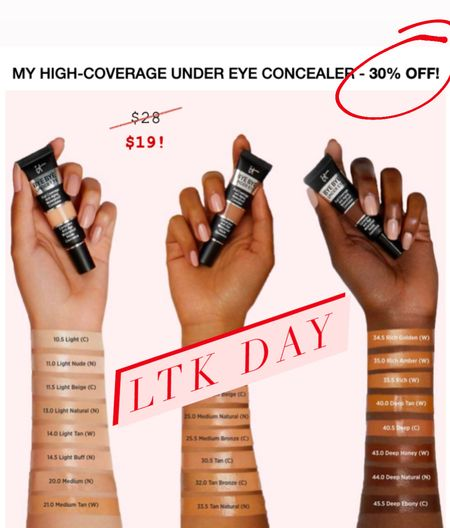 This is the under eye concealer that I use every day and it covers very well. I suggest going a shade darker than you might think so it blends well with the rest of your face as it is thicker than your foundation. Love it!   #LTKunder50 #LTKDay #LTKbeauty