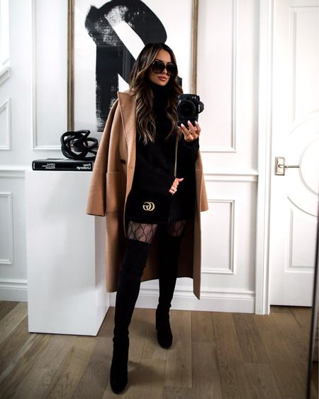 Fall date night outfit  Camel coat Free people chunky knit sweater  Gucci tights Stuart Weitzman over the knee boots   #LTKstyletip #LTKSeasonal #LTKshoecrush
