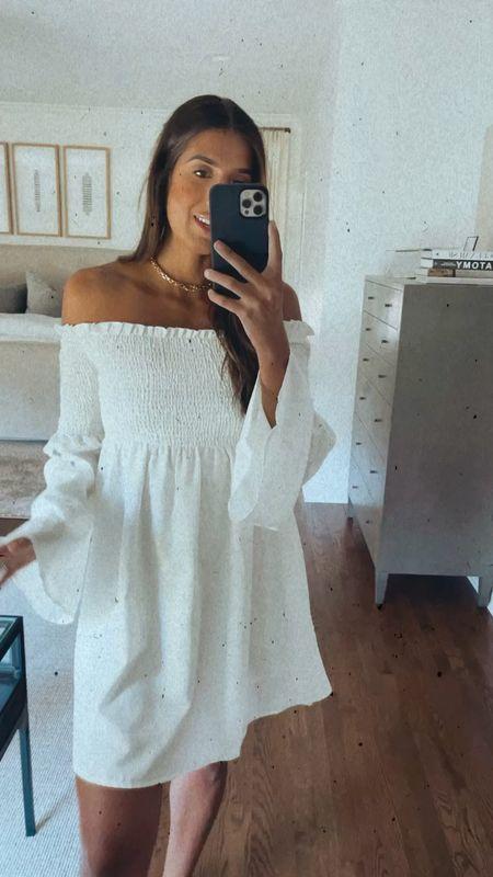 Off the shoulder dress from Amazon fashion, white dress   #LTKsalealert #LTKunder50 #LTKwedding