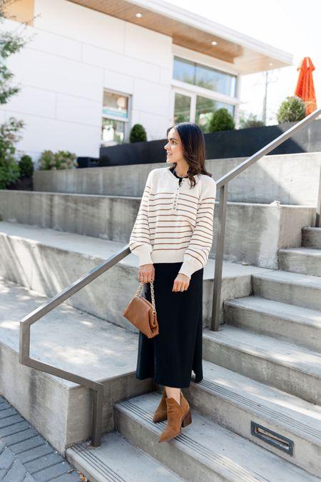 Black midi dress (xs), striped neutral sweater, Amazon handbag, brown booties, Fall outfit idea   #LTKunder100 #LTKstyletip