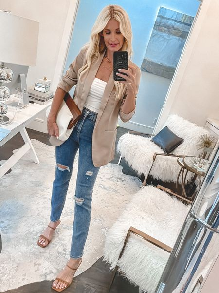 Happy Monday beauties! I'm sharing 7 chic and affordable looks from Express today on the blog. Most pieces are under $100 including ALL of the DENIM! Which is your favorite?   I'm really loving this super chic tan satin blazer and you won't believe the price! It runs tts, I'm wearing an XS.   #LTKstyletip #LTKunder100 #LTKshoecrush