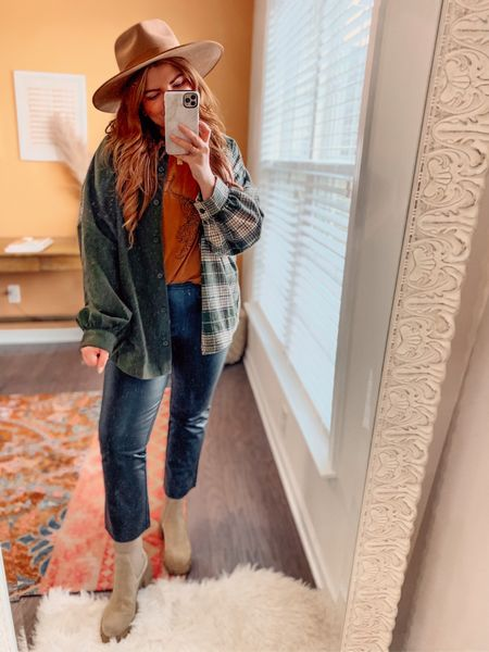 A fall OOTD worth sharing.   Graphic tee (runs one size!) Faux leather pants (selling out, but I'm in an 8) Flannel is sold out, linked similar.   Boots still in stock. Size up 1/2 size. $79  Hat is a splurge. Linking it and a look for less.     #LTKstyletip #LTKsalealert