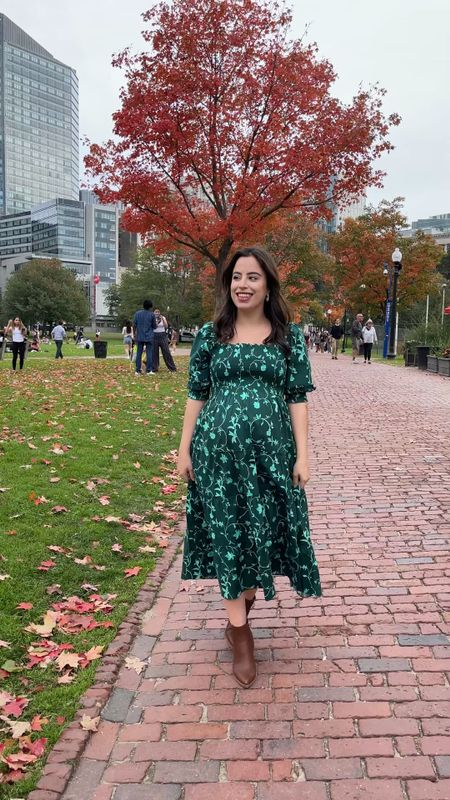 The best maternity friendly dress: the nap dress! Loving it in this green print, which is now back in stock   Fall outfit / fall style / maternity style / midi dress / nap dress    #LTKSeasonal #LTKHoliday #LTKbump