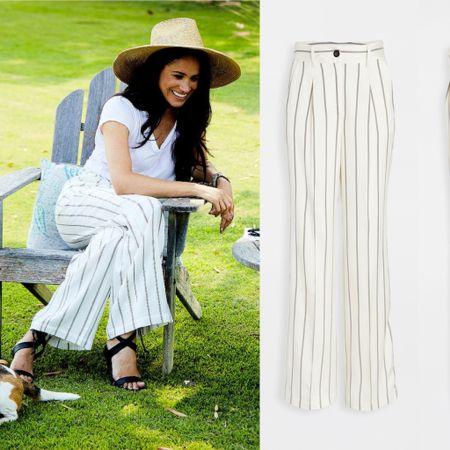 Meghan wearing Annie Bing pants #casual #pants #linen #stripes #oldnavy #summer #under30