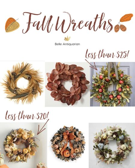 Add some flair to your door or mantel with a fun fall wreath! The wreath on the center/top is only $9.99, but it's a little smaller. Please read dimensions for each wreath.  #LTKfamily #LTKSeasonal #LTKhome